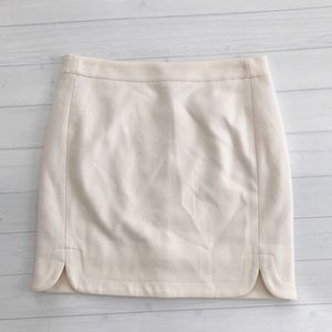 J.Crew Factory Holiday Light Cream Wool Skirt Sz 0